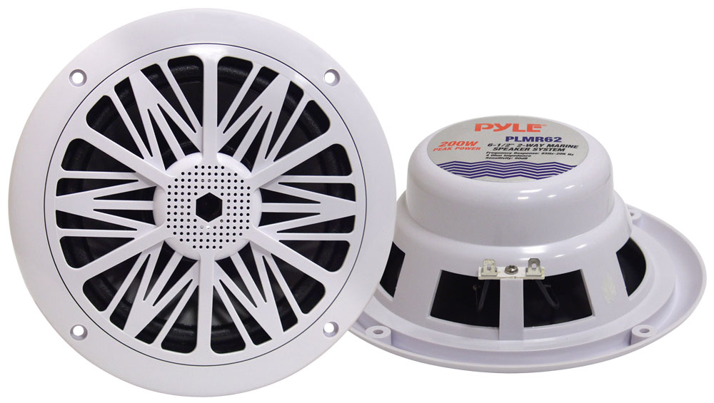 "Pyle PLMR62 200w 6.5"" 2 Way White Marine Boat Outdoor WaterProof Patio Speakers"