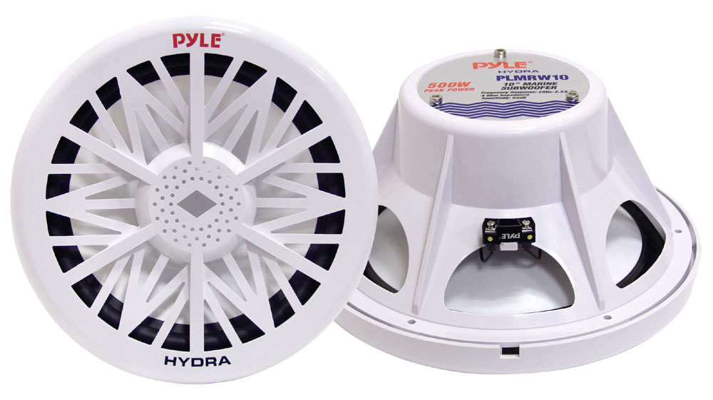 "Pyle PLMRW10 10"" 500W 4 Ohm Marine WaterProof ABS Subwoofer Sub Bass Speaker"