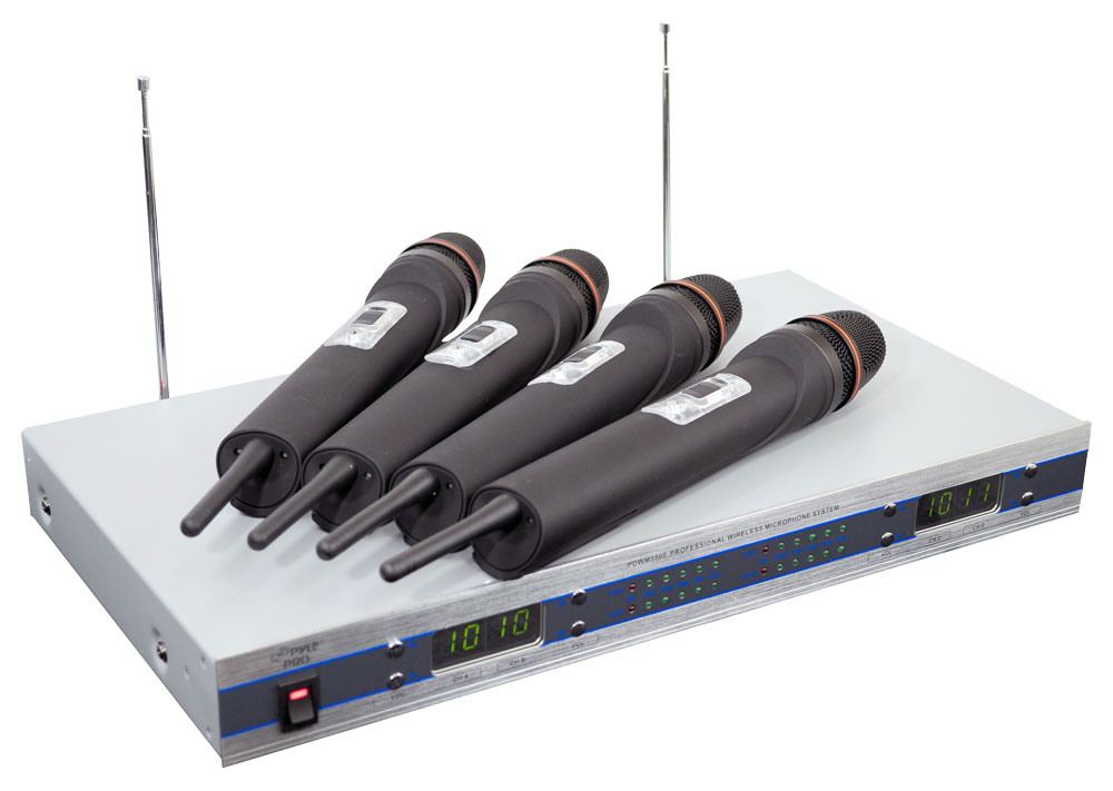 Pyle-Pro PDWM5500 Quad VHF 4 Wireless Microphone Mic System with Display