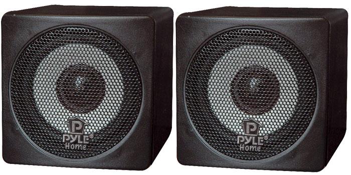 Pyle-Home PCB3BK 3'' 100 Watt Black Mini Cube Bookshelf Speakers In Black (Pair)