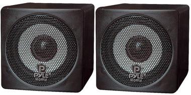 Pyle-Home PCB3BK 3'' 100 Watt Black Mini Cube Bookshelf Speaker In Black (Pair) Thumbnail 2