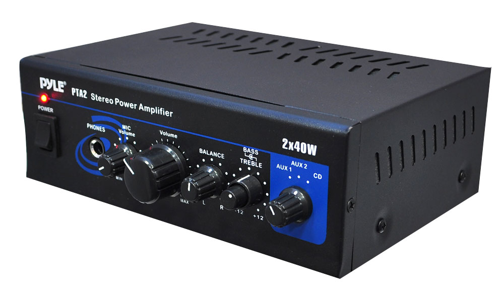 PyleHome PTA2 Mini Compact 2 x 40W Stereo Power Amplifier with AUX CD iPod Mic