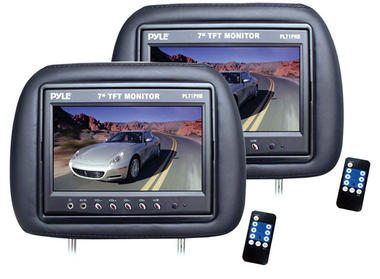 Pyle PL71PHB Adjustable Headrest Pair with Built-in 7'' TFT-LCD Monitors (Black) Thumbnail 2