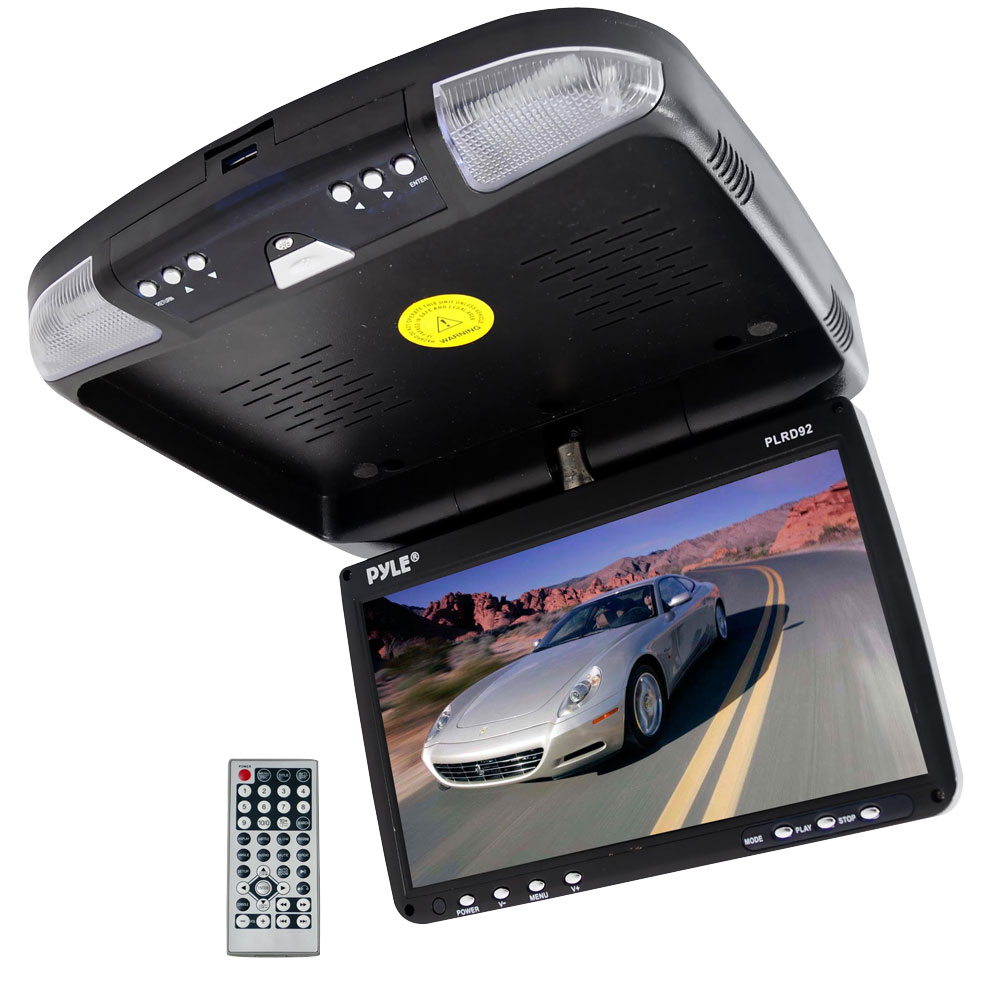 PLRD92 9'' FlipDown RoofMount Monitor & DVD Player Wireless IR & FM Modulator