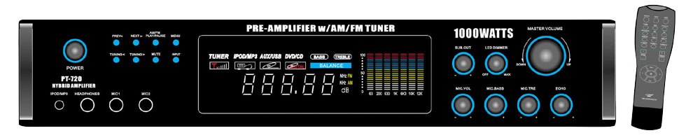 Pyle-Home PT720A 1000 Watts AM/FM/ Tuner Hybrid Amplifier W/ 70V Output