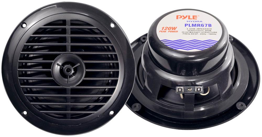 """Pyle PLMR67B WaterProof 120W 6.5"""" Inch 2 Way Marine Boat In Wall Cabin Speakers"""