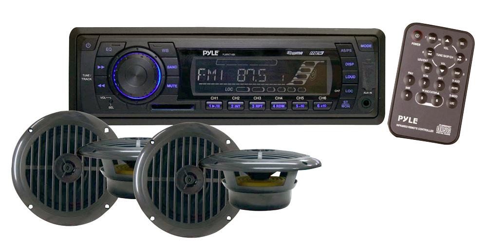 """Pyle PLMRKT14BK Marine Boat Stereo SD MP3 USB Stereo & 6.5"""" Speakers Set Kit"""