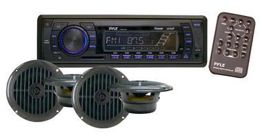 """Pyle PLMRKT14BK Marine Boat Stereo SD MP3 USB Stereo & 6.5"""" Speakers Set Kit Thumbnail 2"""