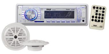 """Pyle PLMRKT32WT Marine Boat Stereo SD MP3 USB Stereo & 5.25"""" Speakers Set Kit Thumbnail 2"""
