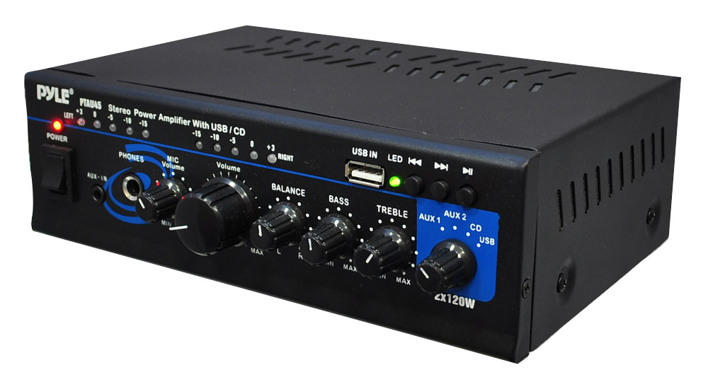 PyleHome PTAU45 2x 120W Stereo Power Amplifier with USBAUXCD and Mic Input