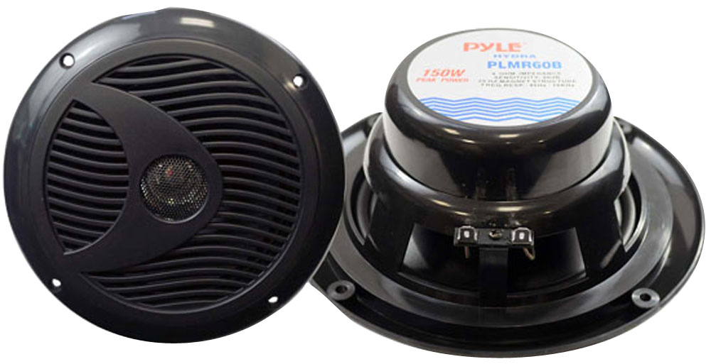 "Pyle PLMR60B WaterProof 150W 6.5"" Inch Coaxial Marine Boat Cabin Audio Speakers"