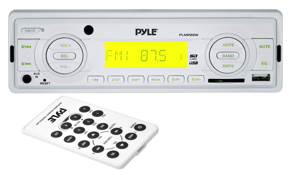 Pyle PLMR88W AM/FM-MPX In Dash Marine MP3 Player/USB & SD Card Function