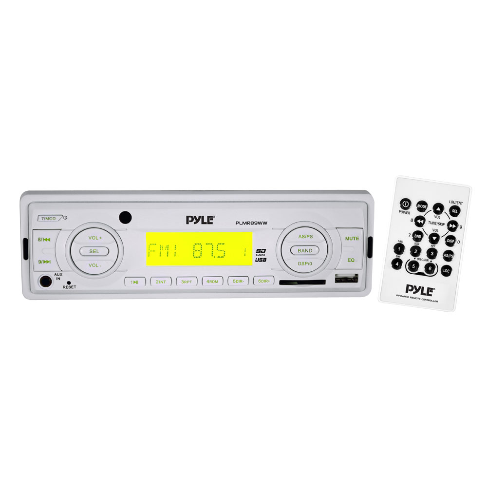 Pyle PLMR89WW AM/FM-MPX In Dash Marine MP3 Weatherband/USB SD Card Function