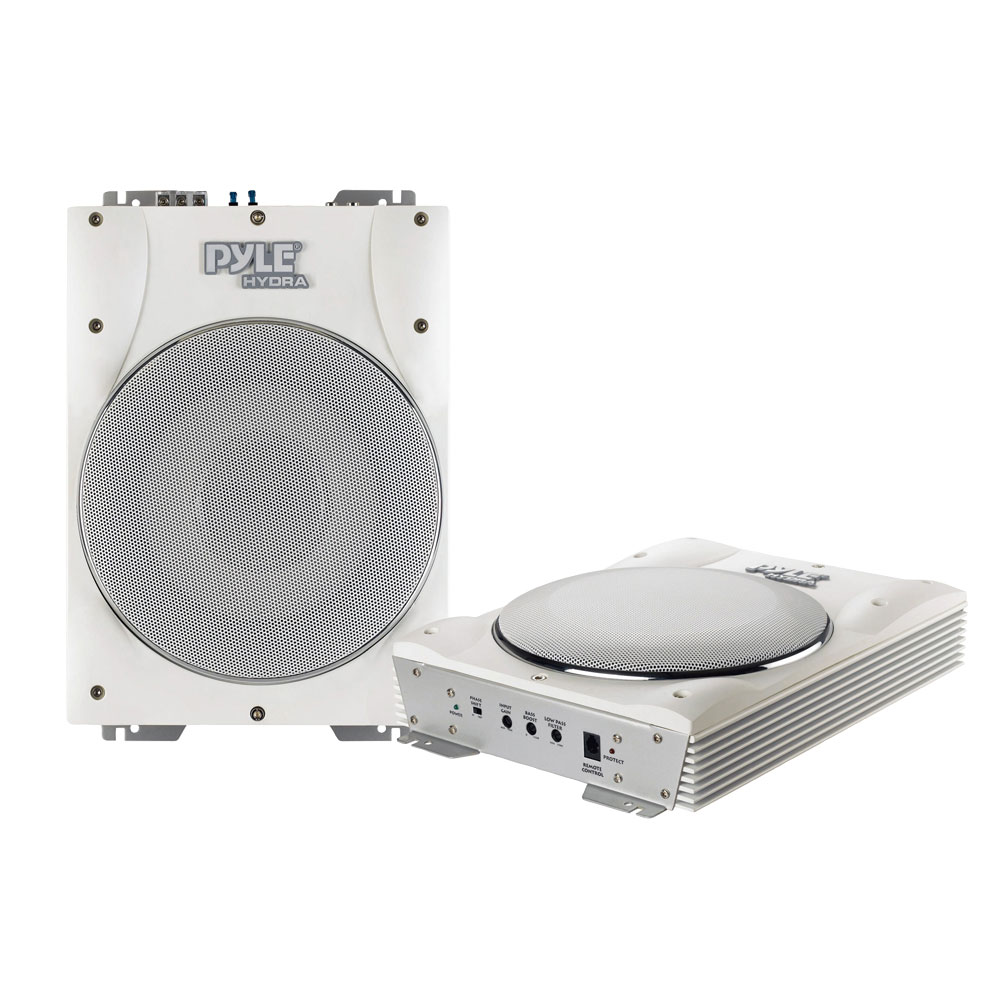 """Pyle PLMRBS10 10""""1000w Slim Powered Marine Boat Subwoofer System Built-in Amp"""