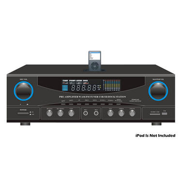 Pyle Home PT4601AIU 500w 2 Channel Amplifier Tuner USB SD Card iPod Dock MP3 Thumbnail 2