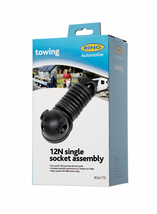 Ring RSA175 12V Trailer Towing 12N Single Socket Assembly No Fog Cut Out Single