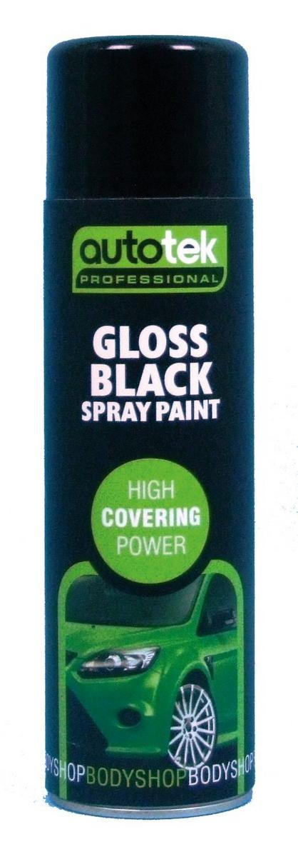 Autotek AT000GB500 Automotive Quick Drying Gloss Black Spray Aerosol Paint 500ml