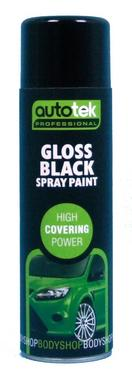 Autotek AT000GB500 Automotive Quick Drying Gloss Black Spray Aerosol Paint 500ml Thumbnail 1