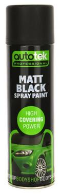 Autotek AT000MB500 Automotive Quick Drying Matt Black Spray Aerosol Paint 500ml Thumbnail 1