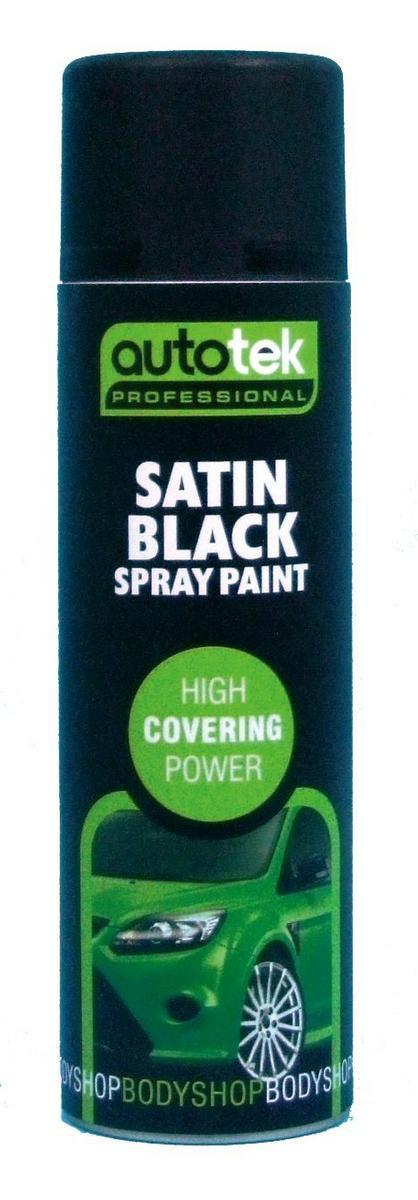 Autotek AT000SB500 Automotive Quick Drying Satin Black Spray Aerosol Paint 500ml