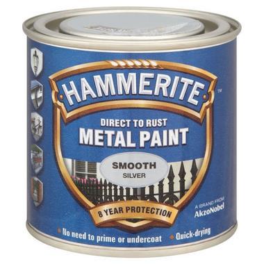 Hammerite 5084894 Smooth Silver 250Ml Thumbnail 1