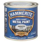 Hammerite Smooth Direct to Rust Metal 250ml Silver Paint Brush on