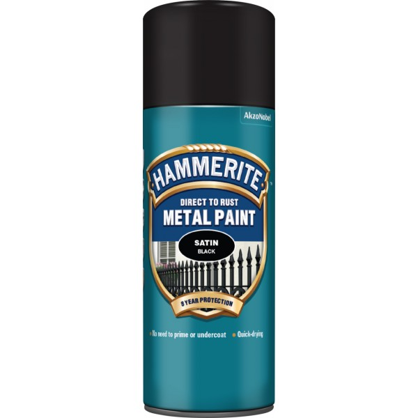 Hammerite Smooth Direct to Rust Metal 400ml Satin Black Paint