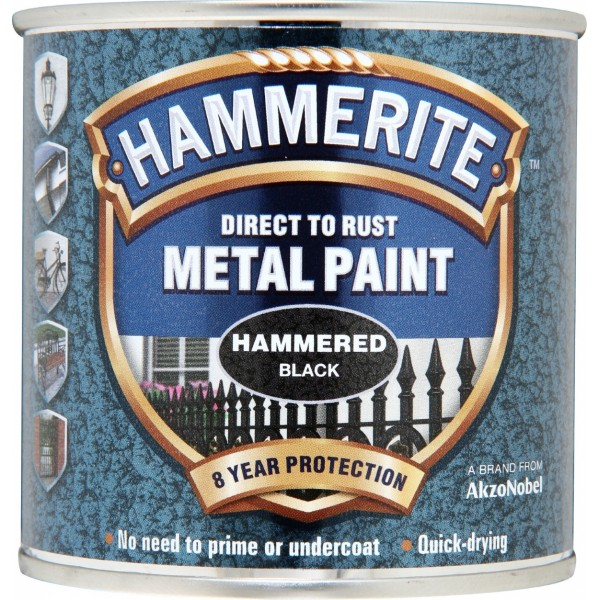 Hammerite 5084792 Hammered Metal Paint Black 250ml