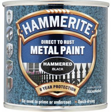 Hammerite 5084792 Hammered Metal Paint Black 250ml Thumbnail 1