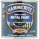 Hammerite Smooth Direct to Rust Metal 250ml Black Paint Brush on
