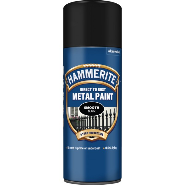 Hammerite 5092965 Smooth Black Spray Paint 400ml Can Single