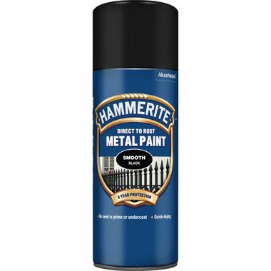 Hammerite 5092965 Smooth Black Spray Paint 400ml Can Single Thumbnail 1