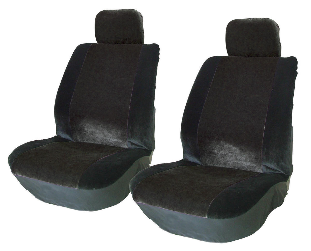Car Universal Front Seat Covers Black Retro Style High Quality Durable Stylish