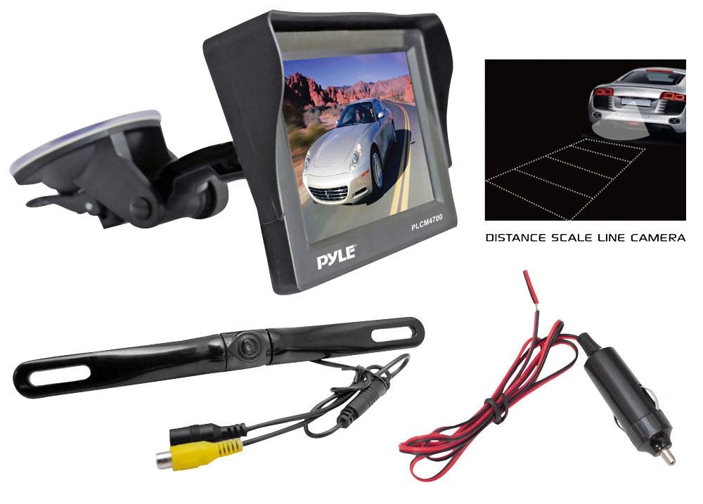 "Pyle PLCM4700 4.7"" Window Mount Monitor Rear View Reversing Camera Set"