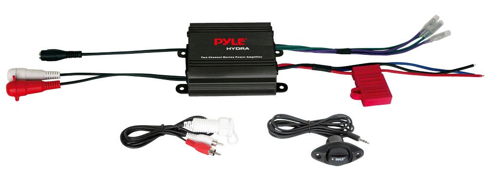 Pyle PLMRMP1B 2 Channel 400w WaterProof Micro Marine Amplifier