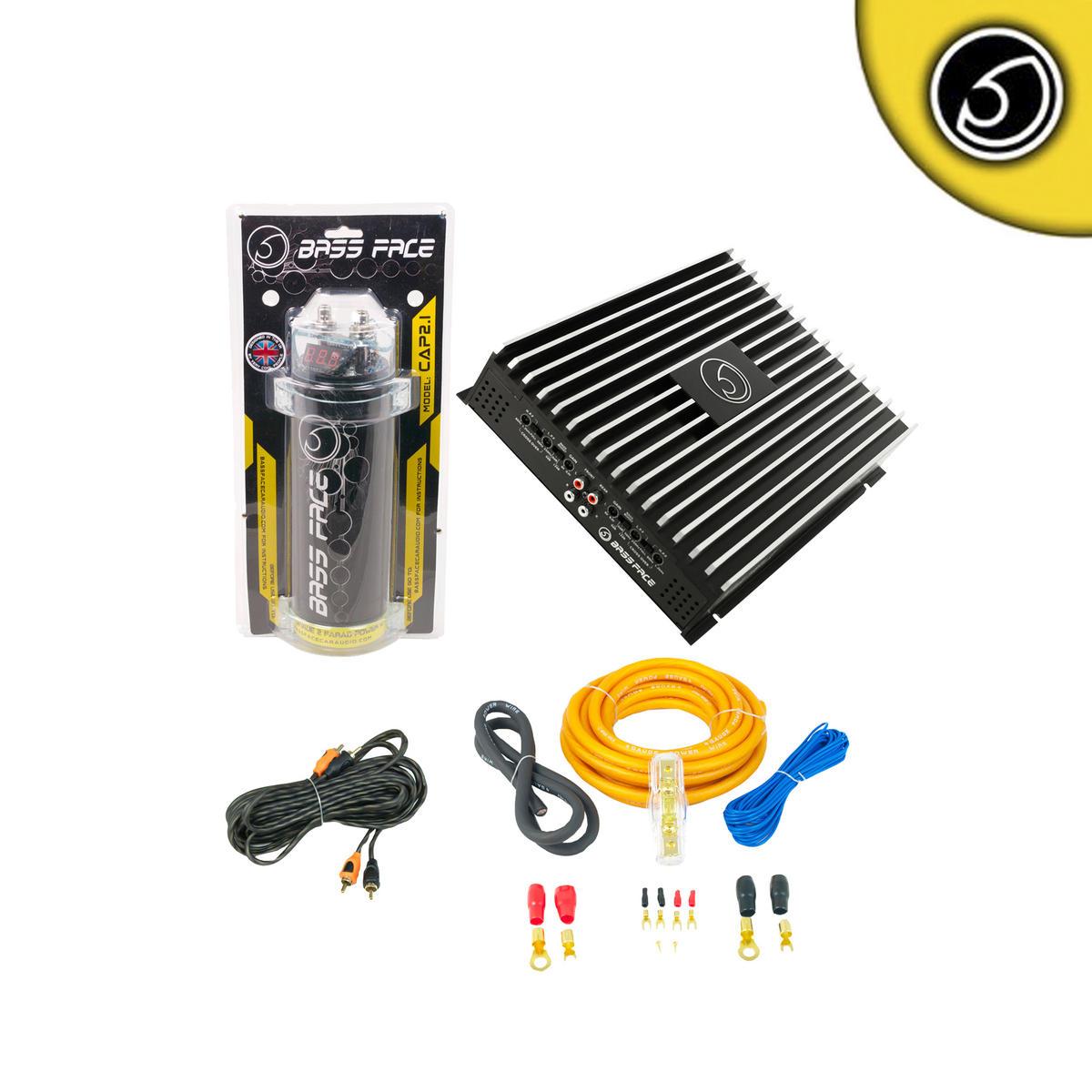 Bassface DB4.1 DB4.1 1600w Car Audio Amp Amplifier 2 Farad Power Cap Wiring Kit