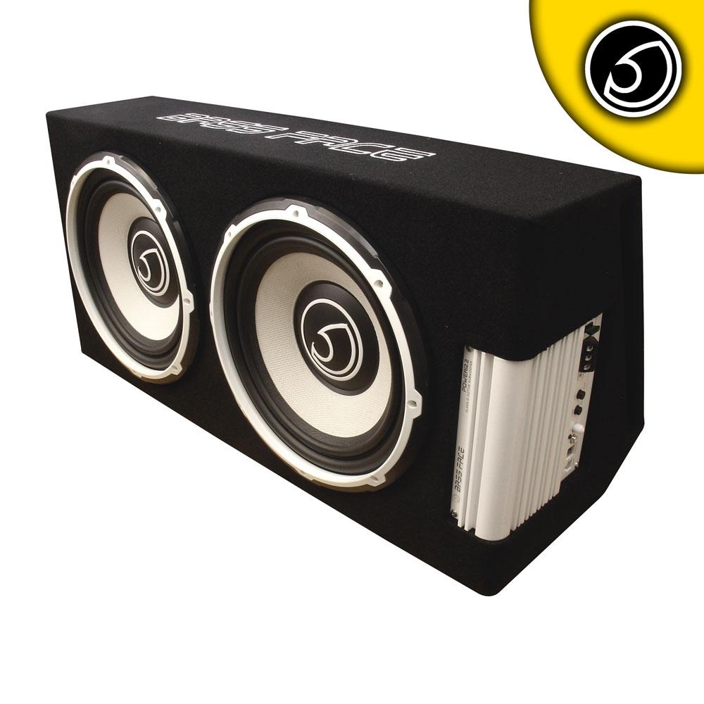 "Bassface POWER12.2 1300w Twin 12"" Active Car Sub Amp Amplifier Powered Bass Box"