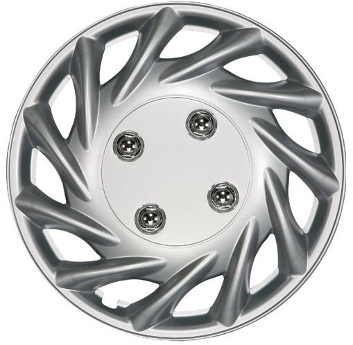 "Vegas 13"" Car Wheel Trims Hub Caps Plastic Covers Set of 4 Silver Universal"