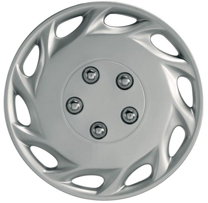 "Vegas 14"" Car Wheel Trims Hub Caps Plastic Covers Set of 4 Silver Universal"