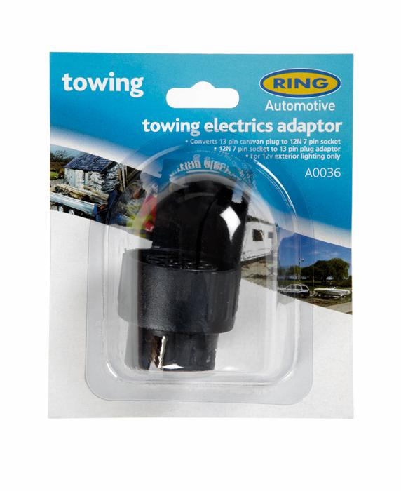Ring A0036 12V Trailer Towing 12N 7 Pin Socket To 13 Pin Plug Adaptor Single
