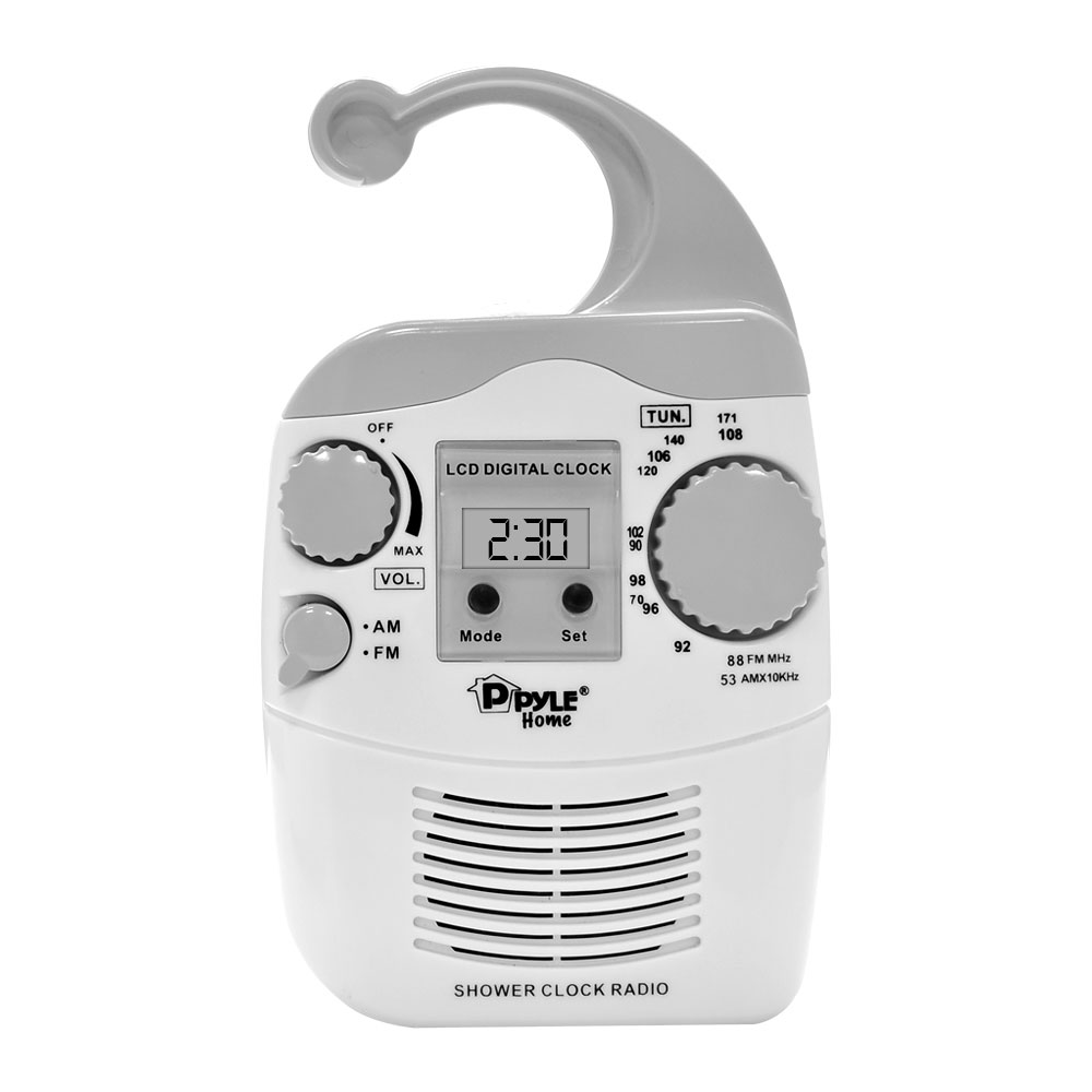 Pyle Home PSR6 Hanging WaterProof SteamProof AM FM Shower Bathroom Clock Radio