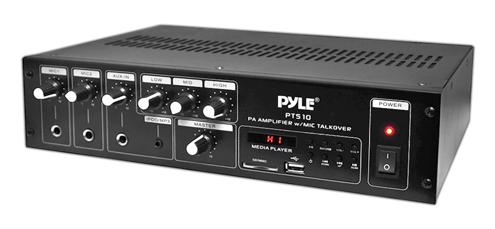 PyleHome PT510 240W Public Address Power Amplifier with 70V Output and Mic