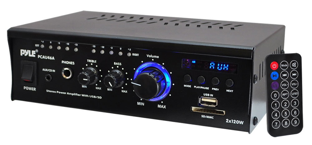 Pyle PCAU46A 2 x 120 Watt Stereo Mini Power Amplifier USB/SD AUX Player & Remote
