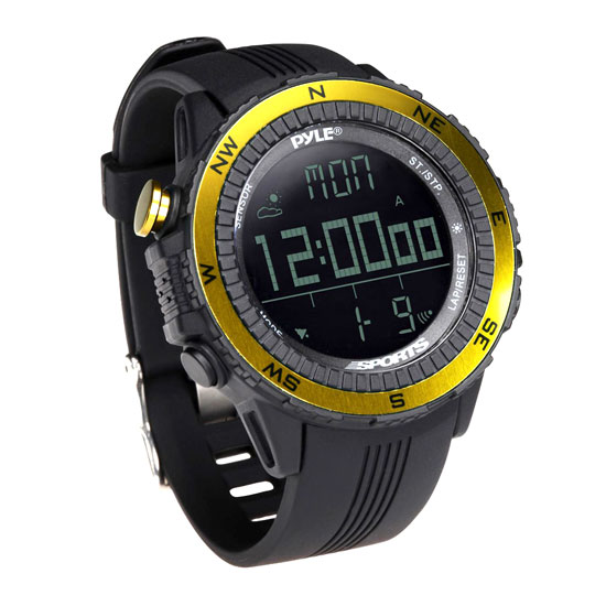 Pyle PSWWM82YL Sports Hiking Watch Altimeter Barometer Chronograph Compass