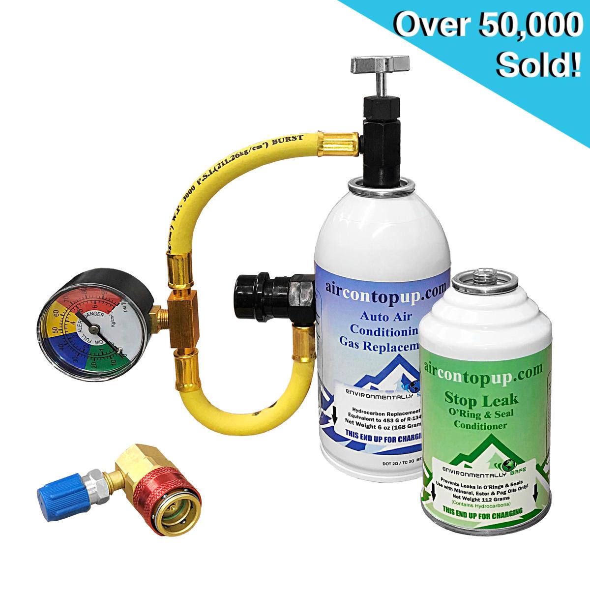 Car AC Aircon Air Con Regas Refill DIY Kit +Leak Stopper +High/Low Port Adaptor