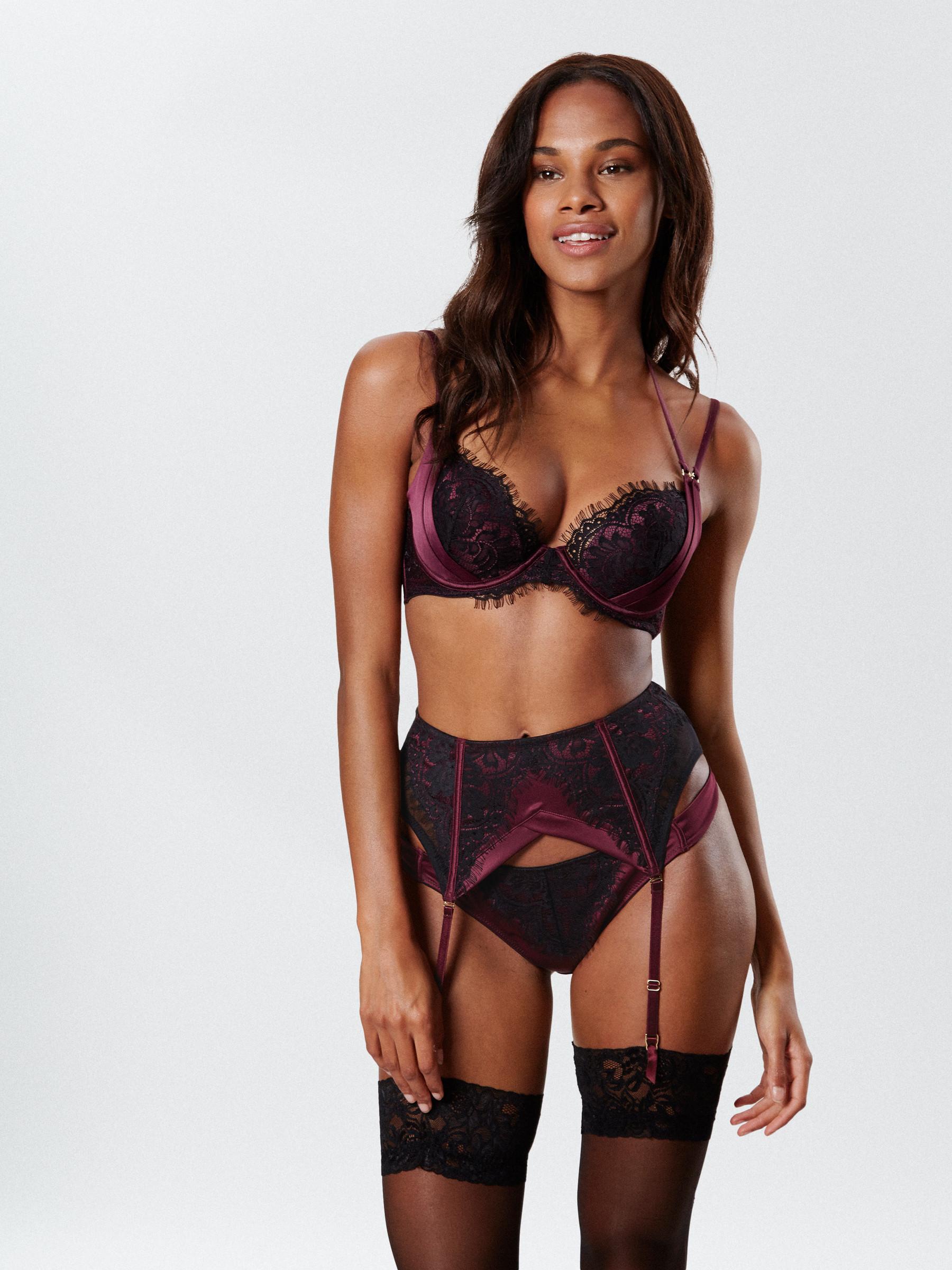 4498b6b01359d Ann Summers Womens Angeline Plunge Bra Satin Lace Sexy Lingerie Underwear
