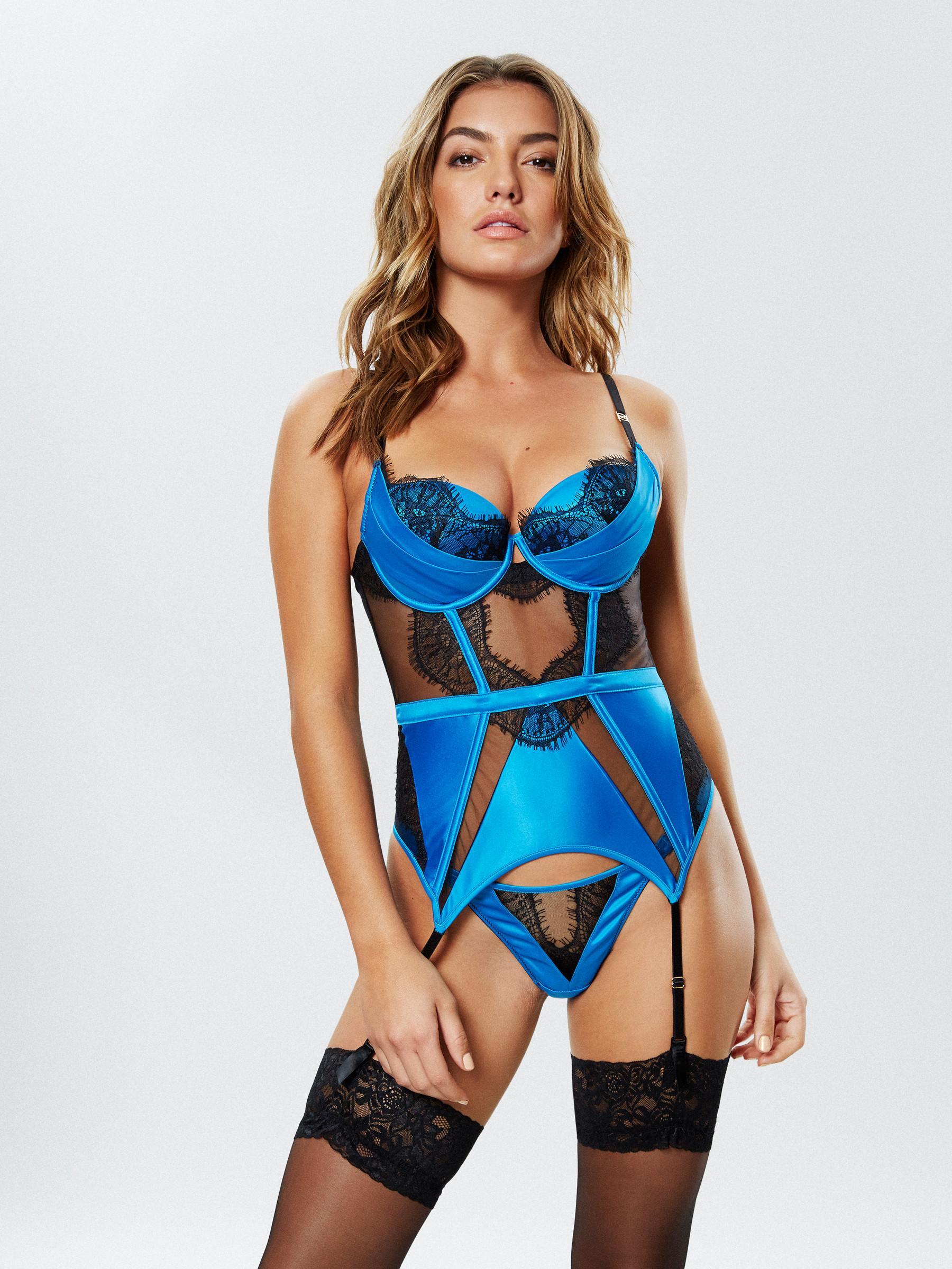 1594306fe Ann Summers Womens Adalicia Basque Satin Underwire Sexy Lingerie Underwear