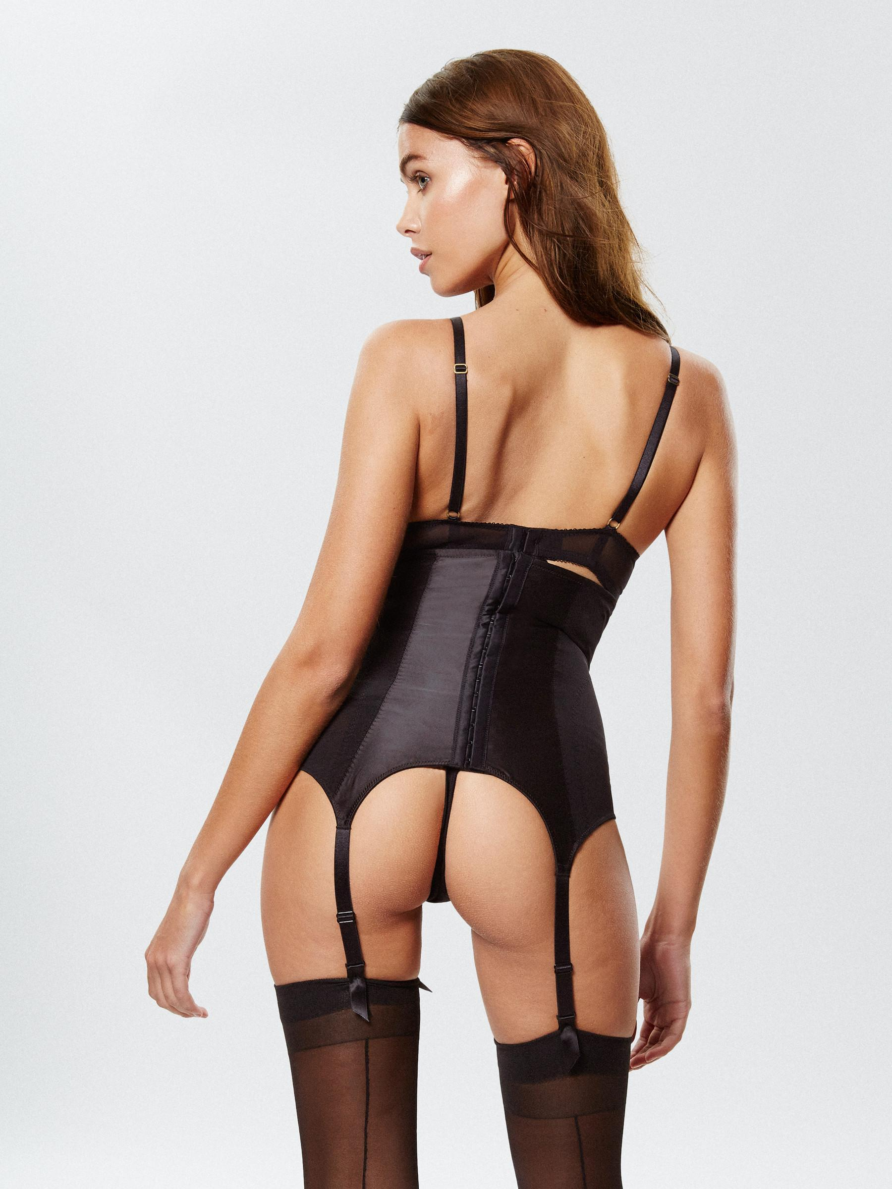 9ef159e146 Ann Summers Womens Besotted Waspie Lace Faux Leather Sexy Lingerie Underwear