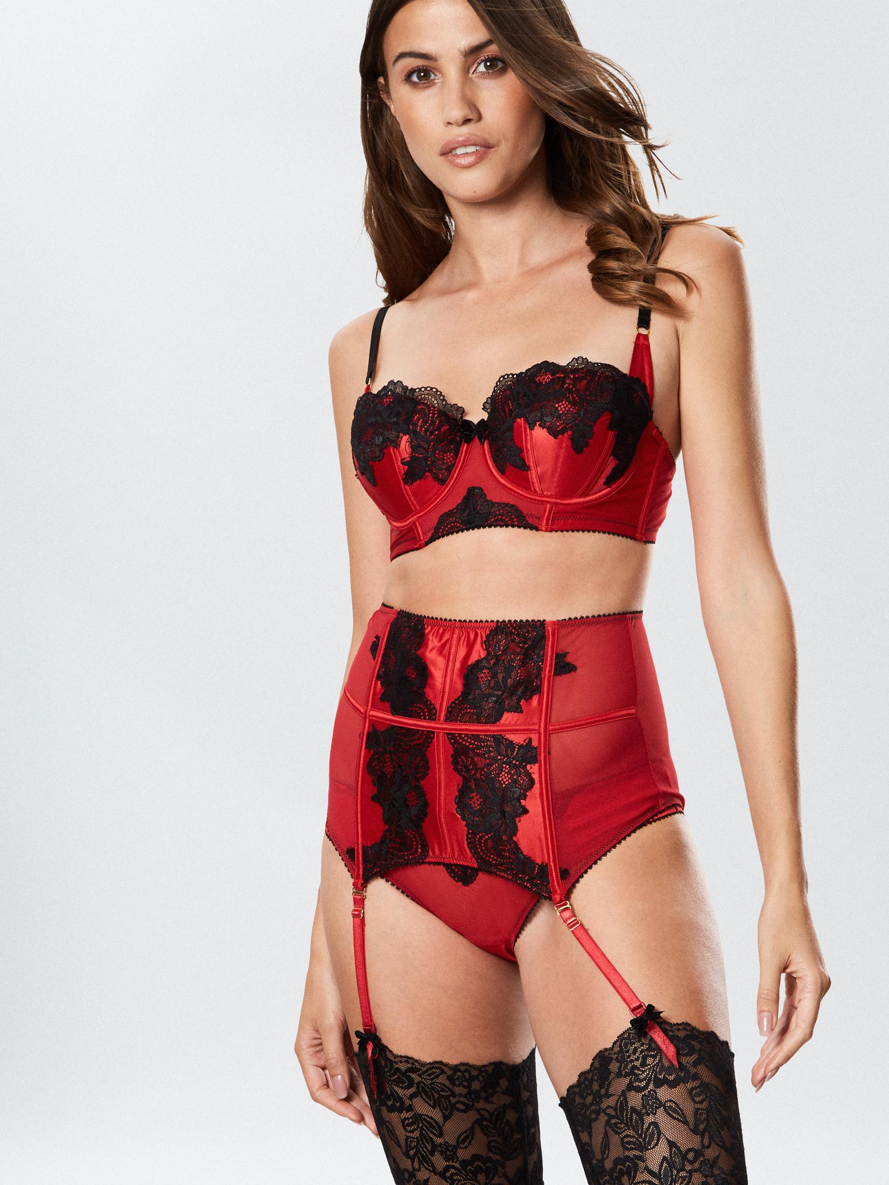00fc12b41a20 Ann Summers Womens Alissa Waspie High Waisted Satin Sexy Lingerie Underwear