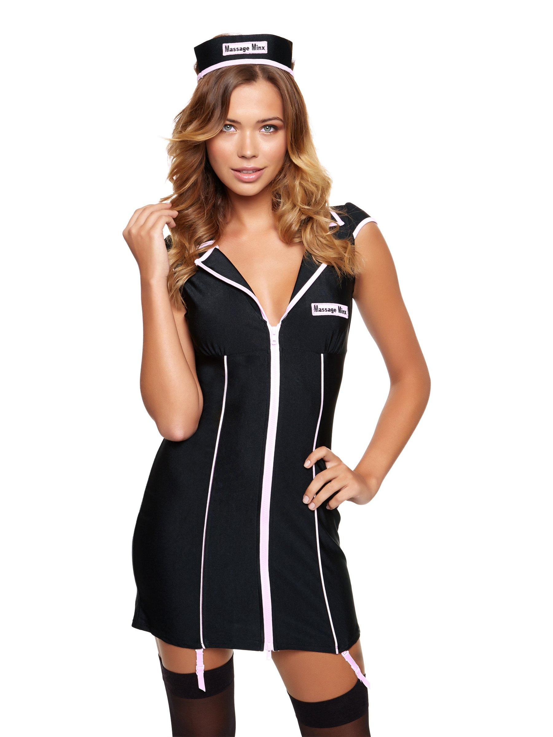 ann summers femme massage minx fancy dress outfit noir fermeture clair sexy costume ebay. Black Bedroom Furniture Sets. Home Design Ideas